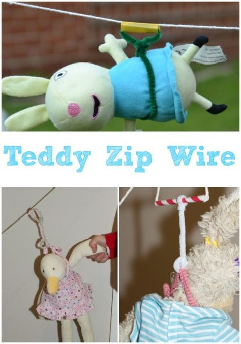 Can't wait to try this stuffie zip wire with the kiddos on our next rainy day!