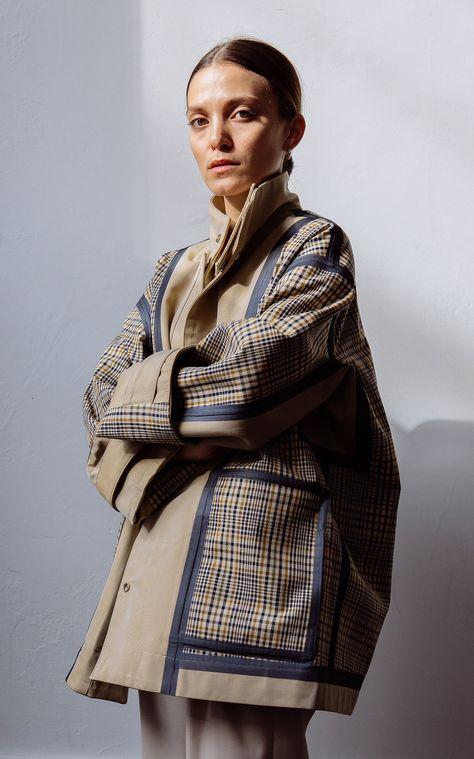 Deveaux Double-Faced Plaid Bonded Cotton Jacket