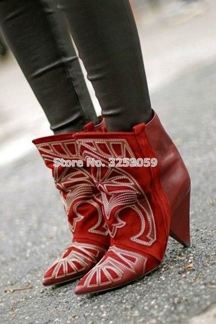 Top Brand Factory Real Photo Red Black Spike Heels Ankle Boots – Heel Company World