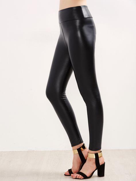 5558837e98 Shop Black Faux Leather Leggings online. SheIn offers Black Faux Leather  Leggings & more to fit your fashionable needs.