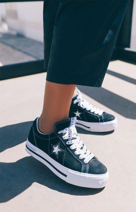 Black One Star Platform Sneakers