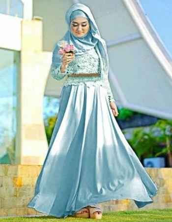 30 Model Gamis Batik Kombinasi Polos Blazer Sifon Brokat