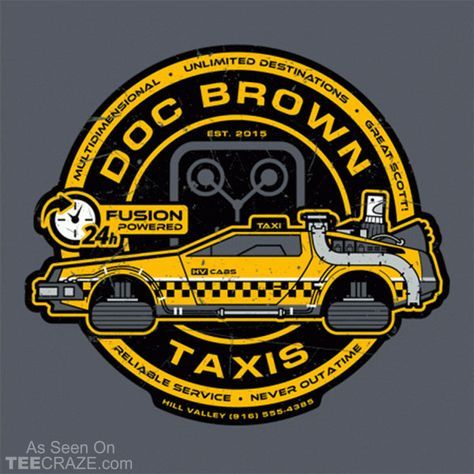 Doc Brown Taxis T-Shirt - https://teecraze.com/design/doc-brown-taxis-t-shirt/ - Designed by StationJack  #TCRZ #BackToTheFuture