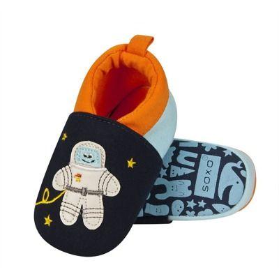Kapcie Niemowlece Soxo Z Astronauta I Rakieta Slippers Baby Shoes Winter Blues