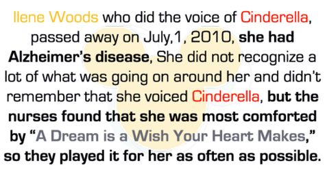 Disney Fact. Cinderella's voice actress, Ilene Woods   The most amazing thing I have ever heard! Thanks @Jordan Braswell for sharing this with me. Made my whole entire day.