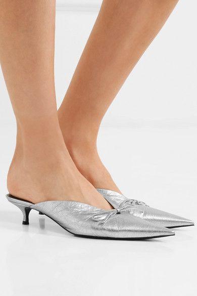 "df6734572be Balenciaga ""Knife"" metallic-silver-textured-leather exaggerated ..."