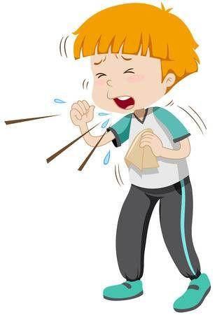 Ilustracion Del Nino Pequeno Que Tiene Gripe Imagenes Animadas De Ninos Tema De Granja Para Preescolar Dibujos Para Ninos