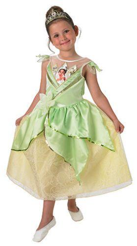 Girls Tiana Costume Kids Disney Princess Fancy Dress Fairytale Licensed Dressup