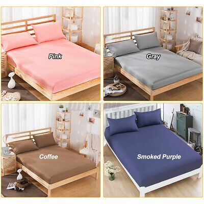 Soft Fitted Sheet Bed Sheets Bedding Cover Deep Pocket Bedspread King Queen In 2020 Bed Spreads Bed Covers Bed Sheets