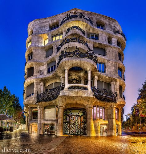 2. La Pedrera This is one of Gaudí's main residential buildings and one of the most imaginative houses in the history of architecture.  This building is more sculpture than a building.  The façade is a varied and harmonious mass of undulating stone that, along with its forged iron balconies, explores the irregularities of the natural world.  UNESCO recognized this building as World Heritage in 1984.