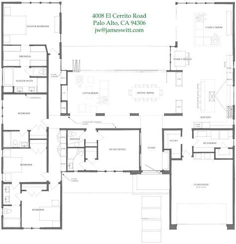 Dreamy 4 Bedroom With Soaring Ceilings Open Plan House Plans One Story House Plans U Shaped House Plans