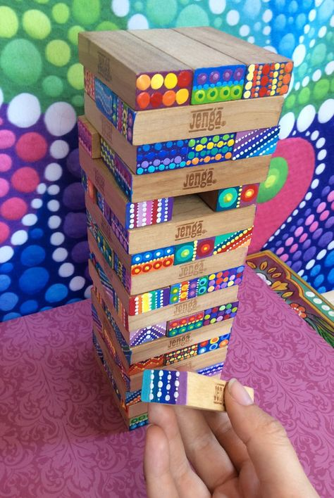 Sign in FUNKY JENGA! These are second hand wooden Jenga building blocks which I have individually hand painted lovingly. Classroom Auction Projects, Class Art Projects, Art Classroom, Craft Projects, Art Auction Projects, Auction Ideas, Welding Projects, Jenga Diy, Jenga Blocks
