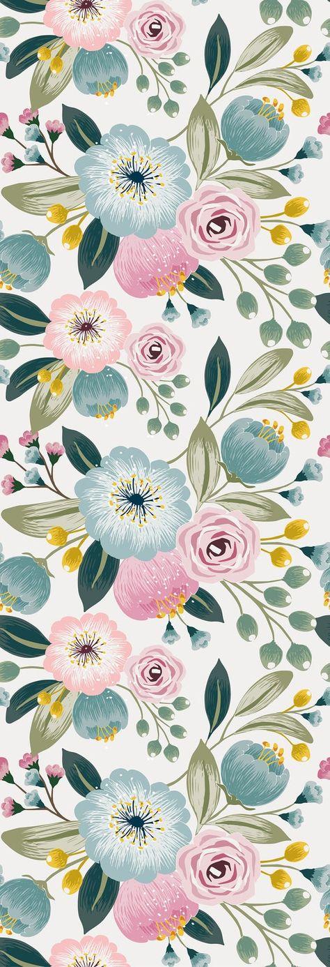 Removable Wallpaper Peel and Stick Wallpaper Self Adhesive Wallpaper Pastel Flowers Nursery Wallpaper