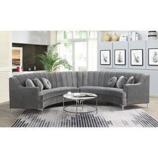Curved Velvet Sectional Sofa 141 8x28x35 1 Grey Gray In 2020