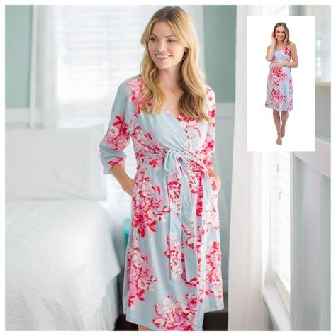 325f0afb3a6 2 PC Set-Mae Floral Maternity Delivery Labor Nursing ROBE  Matching  Maternity Nursing NIGHTGOWN-Hosp