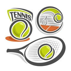 Vector Illustration Of The Logo For Lawn Tennis Consisting Of Green Ball Net On Brown Court With Racket And Racquet Tennis Sports Logo Design Logo For School