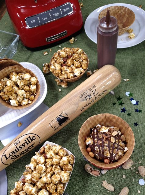 Root, root, root for the home team while scooping up #icecream rolled in ground #peanuts, #CrackerJacks, and corn flakes. Enjoy each spoonful out of a cone bowl dipped in hardened #chocolate! #HomeandFamily #HomeandFamilyTV