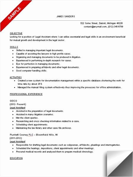 Legal Secretary Resume Example Awesome Legal Assistant Resume