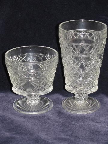 Vintage set 2 1950/'s Hazel Atlas Glass clear crystal 3 section trays glassware