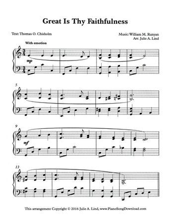 Great Is Thy Faithfulness Free Hymn Arrangements At Piano Song