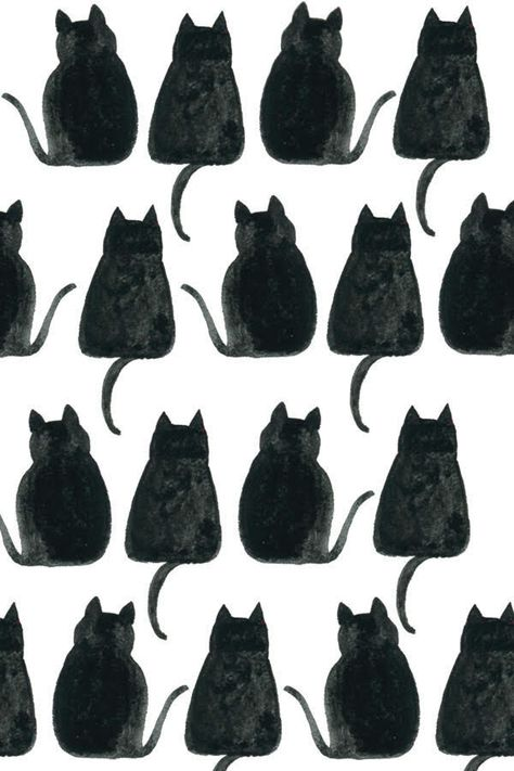 Black Cat Pattern Cat Pattern Wallpaper Watercolor Cat Cat Pattern