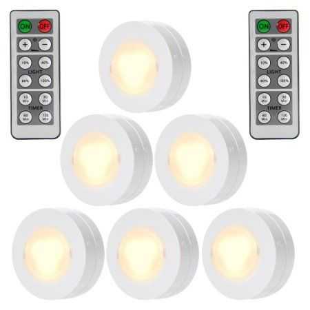 6 Packed Led Puck Lights Remote Controlled Closet Lights Super