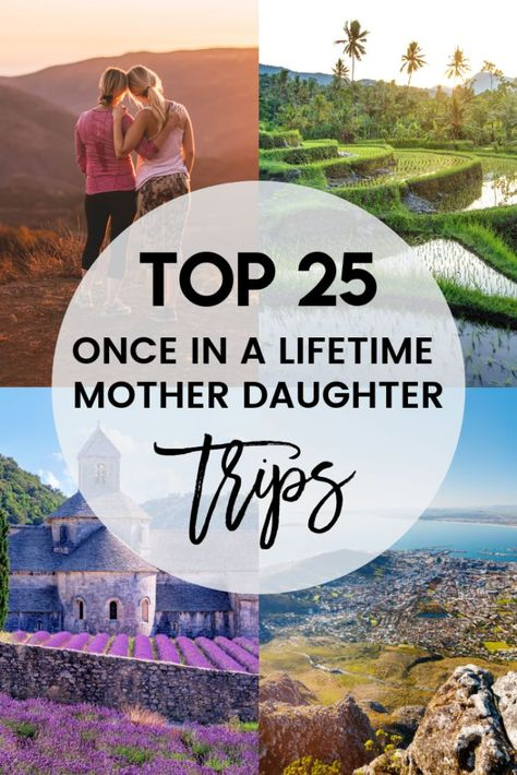 Want to take a once-in-a-lifetime mother daughter trip? Here are 25 of the best mother daughter trips that are guaranteed to create lifelong memories. Travel With Kids, Family Travel, Girl Travel, Best Places To Travel, Places To Go, Mother Daughter Dates, Mom Daughter, Mother Daughters, Mother Daughter Activities