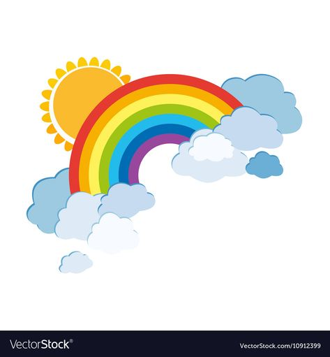 Colored rainbows with clouds and sun. Cartoon illustration isolated on white background. Vector EPS10. Download a Free Preview or High Quality Adobe Illustrator Ai, EPS, PDF and High Resolution JPEG versions.