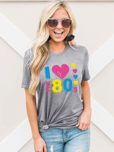 Dresswel Women I THE 80's Letter Print Peach Hearts Pattern T-shirt Top
