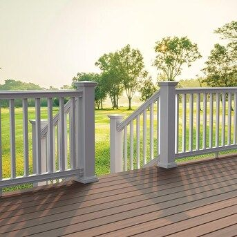 Freedom Prescot Stair White Pvc Deck Stair Rail Kit With Balusters In The Deck Railing Department At Lowes Com In 2020 Deck Stair Railing Pvc Decking Deck