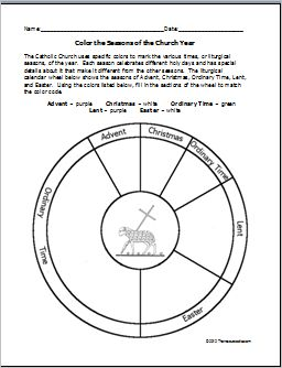 Color the Seasons of the Church Year Worksheet