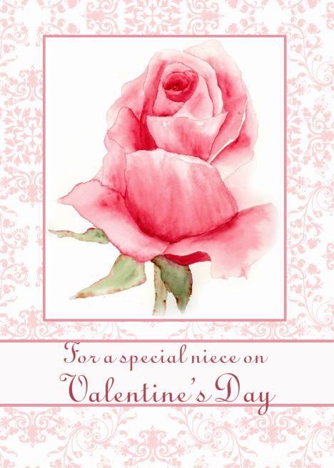 Happy Valentine Rsquo S Day Niece Pink Rose Flower Watercolor Art Card Ad Affil Watercolor Flowers Card Happy Valentines Day Sister Valentines Day Birthday