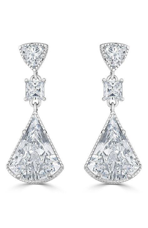 Silver Earrings By CS-DB Trillion Natural Triangle Purple Amethyst Birthstone Stud Earrings For Womens