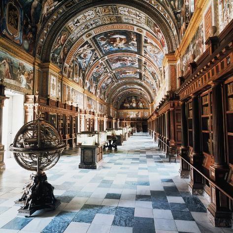 Royal Library Of Monastery Of San Lorenzo De El Escorial St Lawrence Of El Escorial Giclee Print In 2021 Beautiful Library Architecture El Escorial