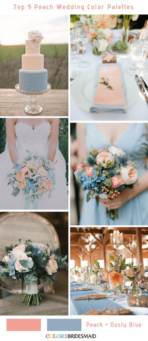 ADVERTISEMENT ADVERTISEMENT Top 9 elegant summer wedding color palettes for 2019 — peach and dusty blue, rustic barn wedding reception centerpieces DIY, wedding bouquets, wedding cakes Peach Wedding Theme, Blue Wedding Flowers, Wedding Bouquets, Rustic Peach Wedding, Wedding Reception Centerpieces, Wedding Decorations, June Wedding Colors, Spring Wedding Invitations, Wedding Planner