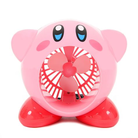 Cool off with Kirby! From SK Japan comes this USB-powered fan that takes the shape of Kirby opening his mouth up wide as he blows refreshing, cool air your way. The ABS fan measures in height so it's the perfect size for a desk or workspace. Cute Room Ideas, Cute Room Decor, My New Room, My Room, Kawaii Bedroom, Otaku Room, Desk Fan, Gamer Room, Mode Shop