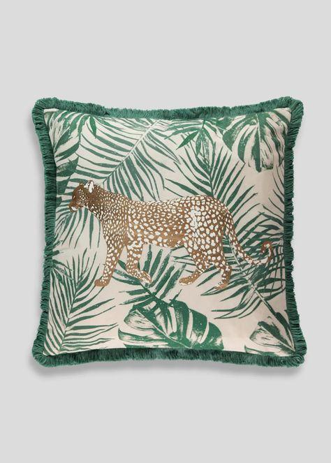 Fringed Jungle Leopard Cushion 46cm X 46cm Green Green Cushions Striped Cushions Cushions