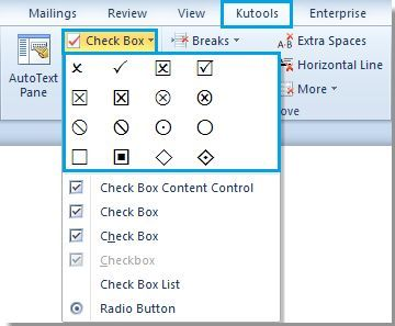How to quickly insert the checkbox symbol into a Word document