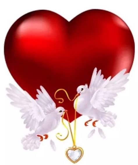 HEART AND WHITE DOVES