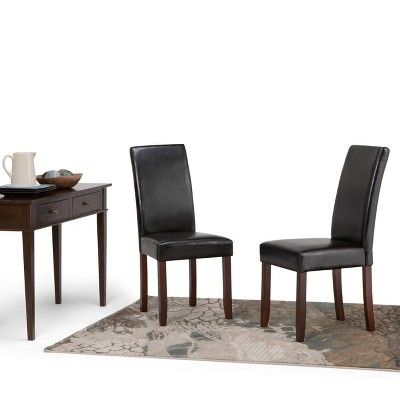 Acadian Faux Leather Parson Dining Chairs Midnight Black Set Of 2