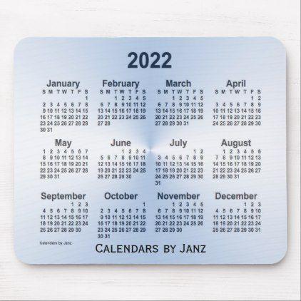 2022 Steel Blue Calendar By Janz Mouse Pad Zazzle Com Blue Calendar Custom Calendar Calendar