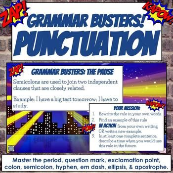 Grammar Busters Punctuation Rules TpT Sharing Board