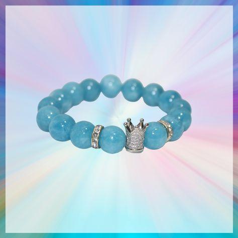 Blue Quartz Boujie Bracelets - Blue Quartz and Silver CZ Crown