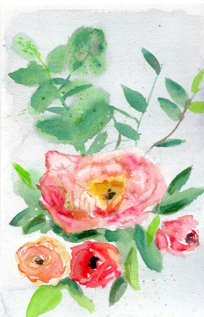 Flowers Original Watercolor Painting 5 5 X 8 5 Painting