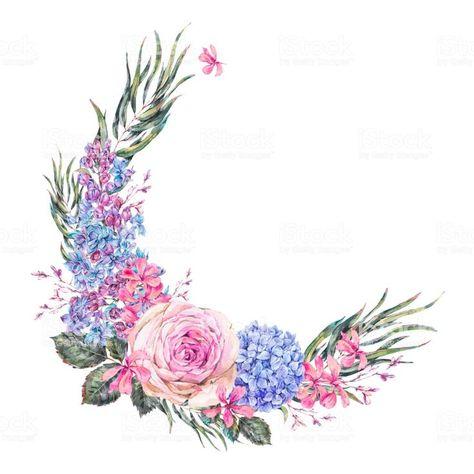 Aquarell Vintage Blumenkranz Mit Rosen Flieder Blaue Hortensie