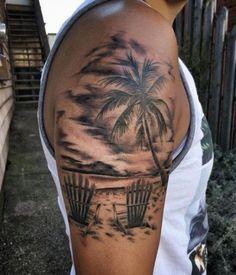 Black and White Beach Tattoo