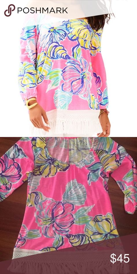 e40ba0987629a Lilly Pulitzer Alia Beach Coverup Top Fringe S The Alia printed top will  take you from the beach to happy hour in the chicest way possible.