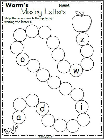 Worm S Missing Letters Worksheet For Kindergarten Madebyteachers Letter Worksheets Kindergarten Alphabet Worksheets Kindergarten Alphabet Worksheets Preschool