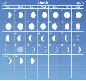 Full Moon March 2020 Lunar Calendar Phases Template In 2020