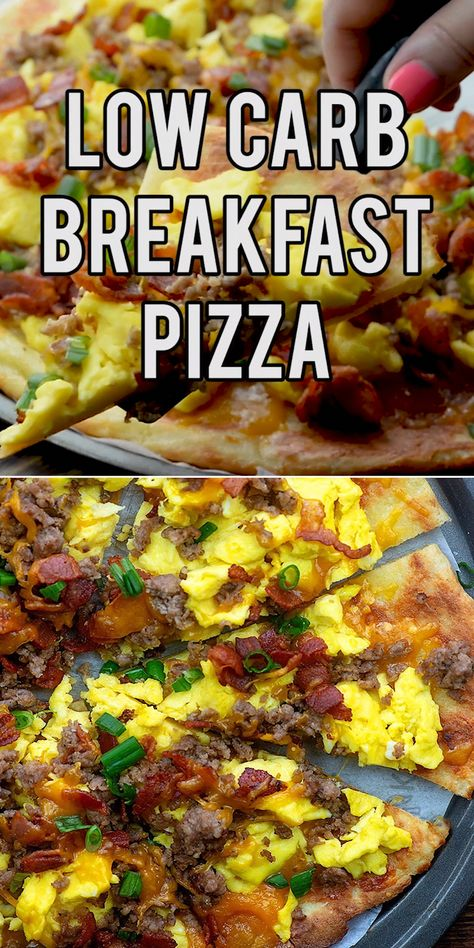 This breakfast pizza is low carb, packed with protein, and perfect for a keto diet! #lowcarb #keto #breakfast #KetogenicDietAndWeightLoss